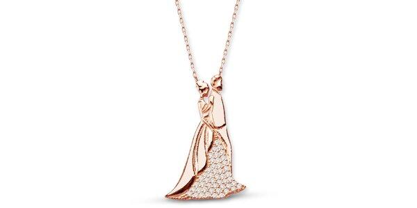 Dámsky strieborný náhrdelník so zamilovaným párom Elite Goby