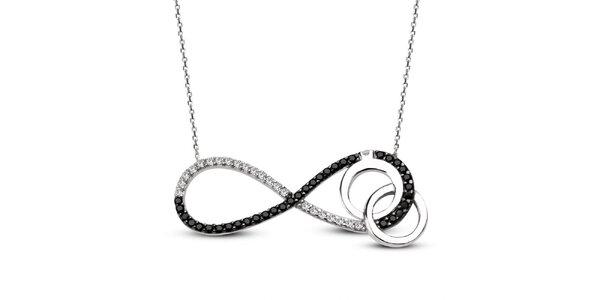 Dámsky strieborný náhrdelník s ležatou osmičkou a dvomi krúžkami Elite Goby