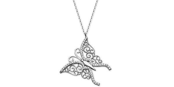 Dámsky strieborný náhrdelník s motýľom Elite Goby
