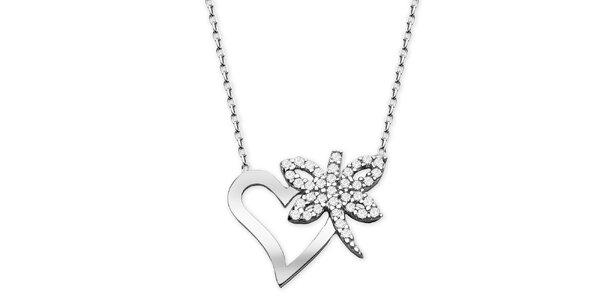 Dámsky náhrdelníkem so srdiečkom a motýlikom Elite Goby