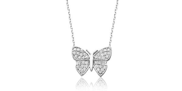 Dámsky strieborný náhrdelník s motýlikom Elite Goby