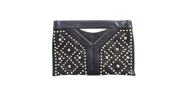 Dámska čierna listová kabelka s cvokmi London Fashion