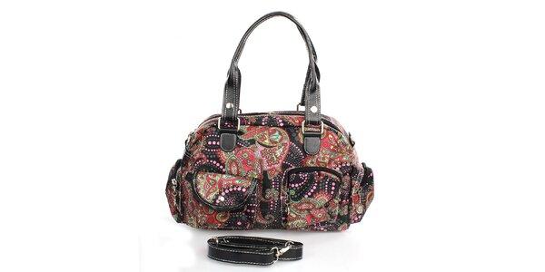 Dámska čierna farebne vzorovaná kabelka London Fashion
