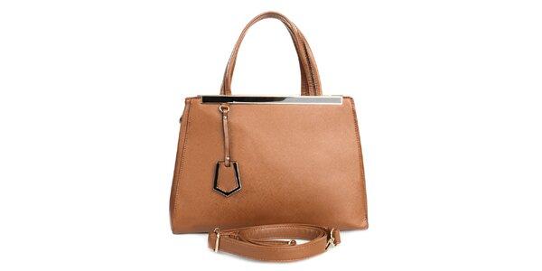 Dámska hnedá kabelka s vonkajším vreckom London fashion