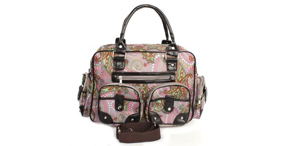 Dámska sivá kabelka s farebnou potlačou London Fashion