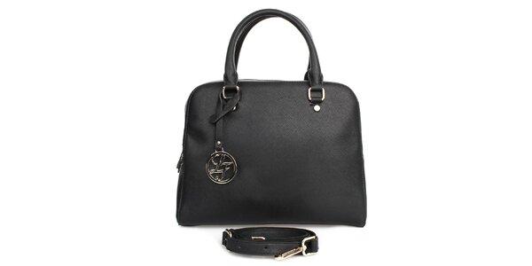 Dámska čierna kabelka s príveskom London fashion