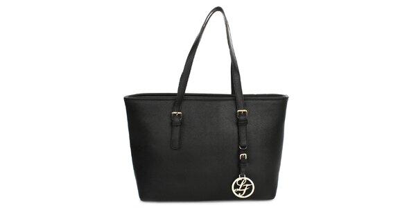 Dámska kabelka s príveskom London fashion - čierna