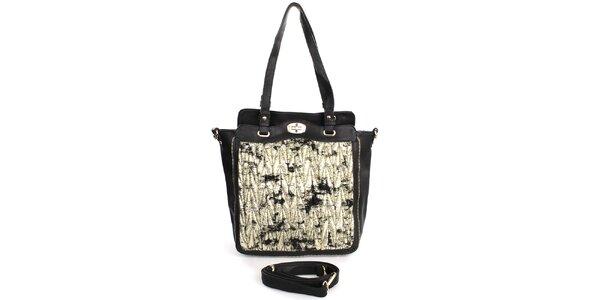 Dámska čierna kabelka so vzorovanou prednou stranou London Fashion