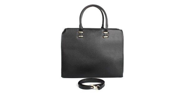 Dámska čierna kabelka so zipsovým zapínaním London fashion