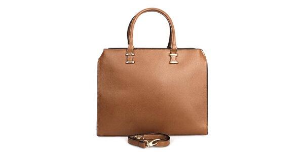 Dámska hnedá kabelka so zipsovým zapínaním London fashion