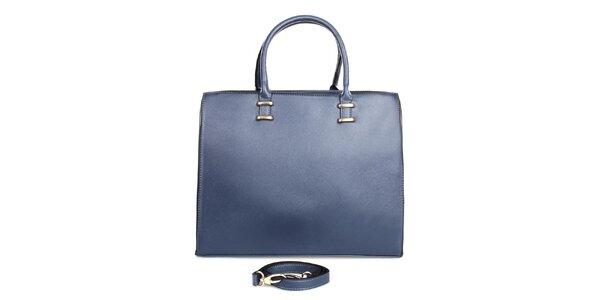 Dámska modrá kabelka so zipsovým zapínaním London fashion