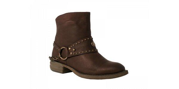 Dámske hnedé kotníčkové topánky Red Hot s kovovými detailami