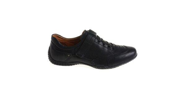 Pánske čierne topánky so suchým zipsom Quattrocento