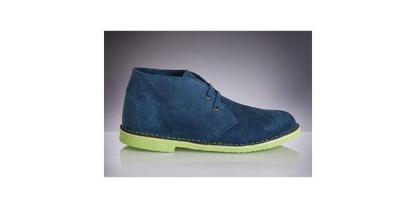 Pánske modré topánky so zelenou podrážkou Roamers