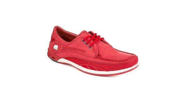 Pánske červené šnurovacie jachtárske topánky Clarks