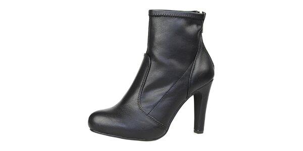 Dámske čierne členkové topánky so zlatým zipsom Bullboxer