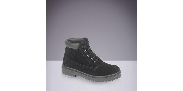 Pánske čierne topánky so šnurovaním DEK