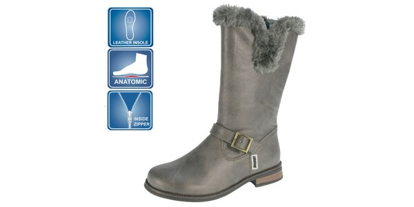 Dievčenské šedé topánky s kožúškom Beppi
