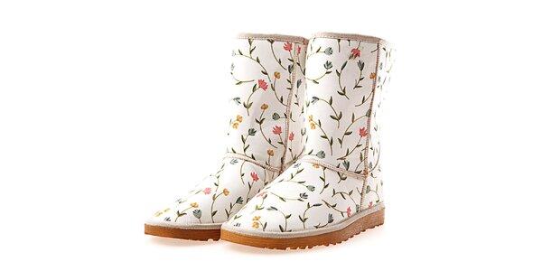 Dámske biele topánky s potlačou kvetinových reťazí Elite Goby