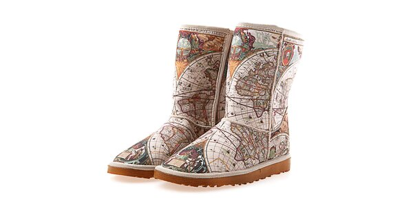Dámske hnedo-béžové topánky Elite Goby s potlačou mapy