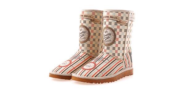 Dámske krémové topánky Elite Goby s retro vzorom