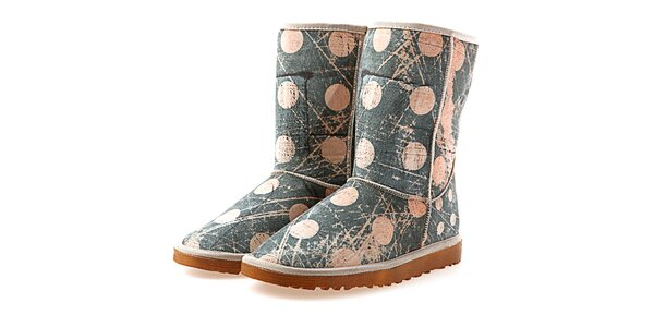 Dámske modro-béžové topánky s bodkami Elite Goby