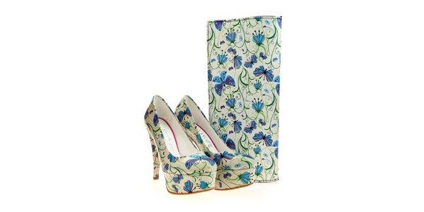 Dámske lodičky a listová kabelka Elite Goby - s modrými kvetinami a motýľmi
