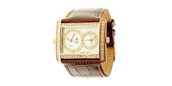 Dámske zlaté oceľové hodinky Royal London s kamienkami