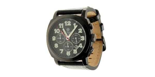 Čierne oceľové hodinky Royal London s koženým remienkom