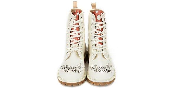 Dámske krémovo biele členkové topánky s kontrastným jazykom Dogo