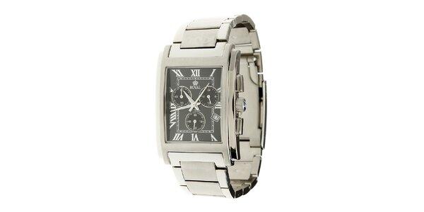 Pánske oceľové hodinky Royal London s hranatým čiernym ciferníkom