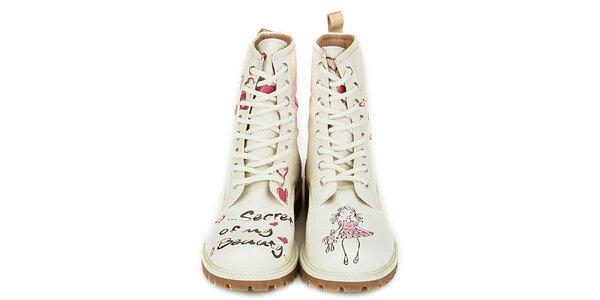 Dámske krémovo biele členkové topánky s parádnou potlačou Dogo