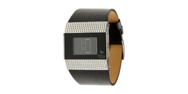Dámske čierne oceľové digitálne hodinky Royal London