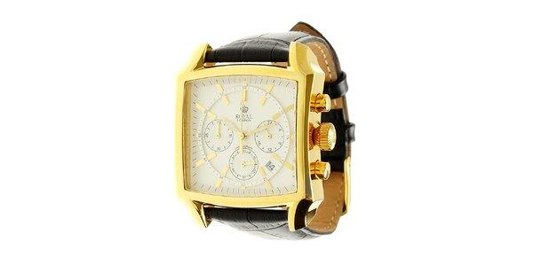 Zlaté oceľové hodinky Royal London s čiernym koženým remienkom