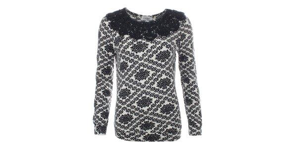 Dámsky sveter s čiernym ozdobným límčekom Madam Rage