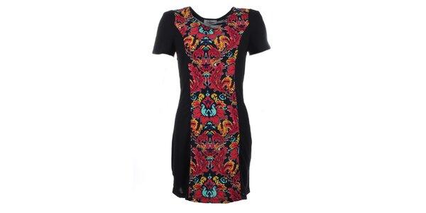 Dámske čierne šaty s farebnou kvetinovou potlačou Madam Rage