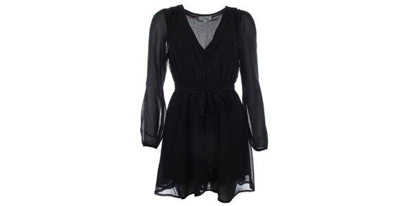 Dámske čierne šaty so zaväzovaním v páse Madam Rage