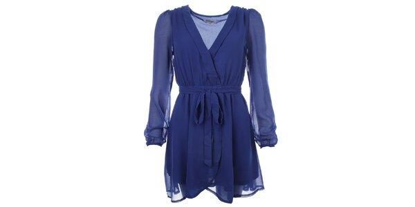 Dámske modré šaty so zaväzovaním v páse Madam Rage