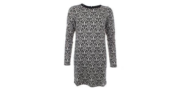 Dámsky dlhý sveter s elegantným čierno-bielym vzorom Madam Rage
