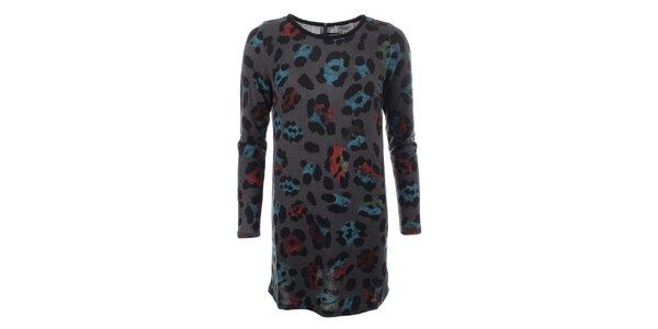 Dámsky dlhý šedý sveter s farebným vzorom Madam Rage