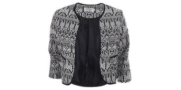Dámske čierno-biele vzorované sako bez zapínania Madam Rage