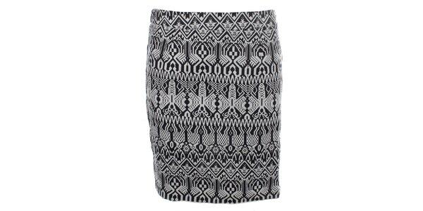 Dámska čierno-biela vzorovaná sukňa so zipsom Madam Rage