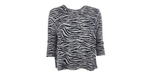 Dámsky šedý sveter s tmavo modrým zebrovaným vzorom Madam Rage