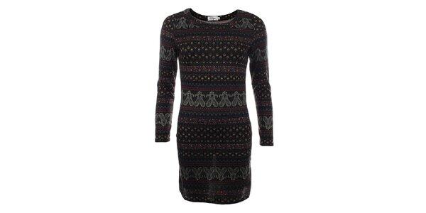 Dámsky dlhý čierny sveter s farebným vzorom Madam Rage
