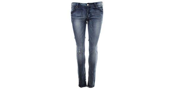 Dámske modré džínsy s predreninou na kolene Madam Rage