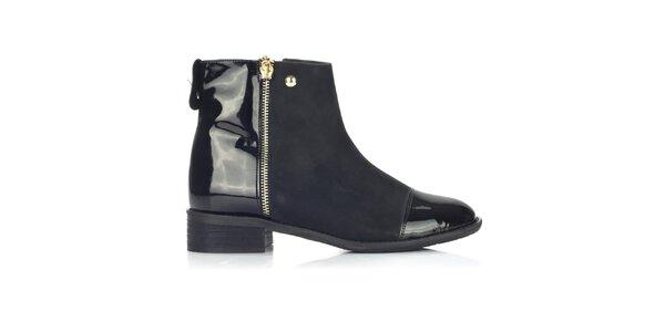 Dámske čierne topánky s lesklými časťami Joana and Paola