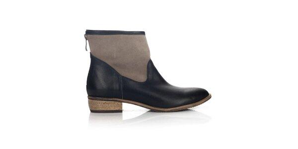Dámske hnedo-čierne členkové topánky Joana and Paola