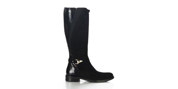 Dámske čierne čižmy s lesklým vzorom Joana and Paola