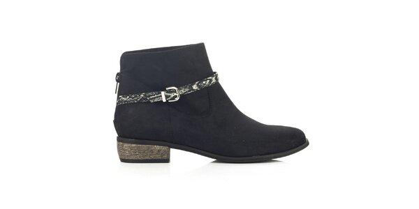 Dámske čierne členkové topánky so vzorovaným remienkom Joana and Paola