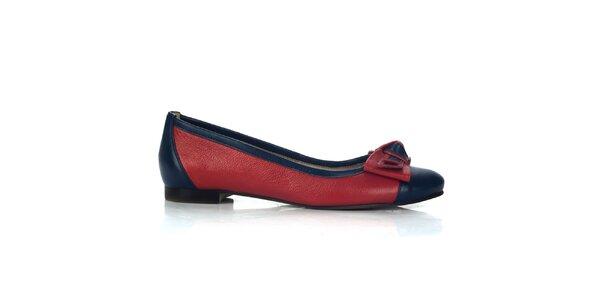 Dámske červeno-modré kožené balerínky Joana and Paola